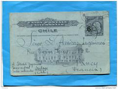 """MARCOPHILIE -CHILI-Tarjeta-Cpa Entier Postal-illustré-3cent Colon""""Surchargé 9""""- Cad 1910+pour  Françe - Chile"""