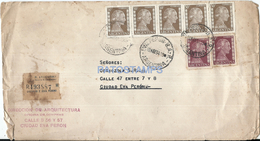 64530 ARGENTINA SOBRE COVER AÑO 1954 STAMPS EVITA PERON REGISTERED CIRCULATED TO CIUDAD EVA PERON NO POSTCARD - Documentos Antiguos