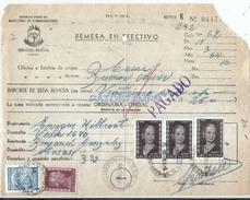 64533 ARGENTINA REMESA EN EFETIVO AÑO 1954 SERVIVIO POSTAL STAMPS EVITA EVA PERON NO POSTCARD - Documentos Antiguos