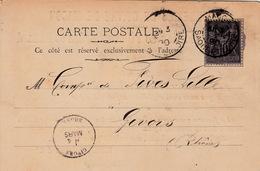 FRANCE 1890 CARTE-POSTALE MACON  POUR GIVORS - FONDERIES DE CUIVRE DE MACON - 1877-1920: Semi-moderne Periode