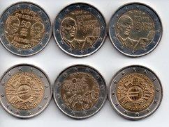 2 EUROS Commémoratifs FRANCE Années Diverses ** 6 Piéces ** - France
