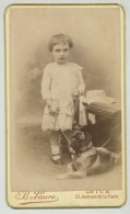 CDV Circa 1890 B. Lauro à Nice. Fillette Avec Chien. Genre De Carlin. - Alte (vor 1900)