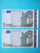 SUITE DE NUMÉRO 2 BILLETS 5 EURO NEUF FRANCE L 027 A 2 SIGNATURE JEAN-CLAUDE TRICHET - 5 Euro