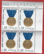 Italia 1973; Gruppo Medaglie D'oro Al Valor Militare. Quartina D' Angolo - 6. 1946-.. Repubblica