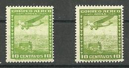 CHILE CORREO AEREO AÑOS  1935 Y 1955  ** MNH   ** MNH        MI 199 Y MI 332 TIPO DE 1935 - Cile