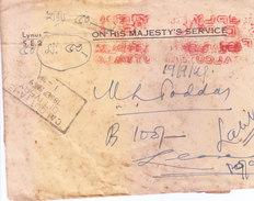 INDIA 1949 METER FRANKING FROM KOLKATA WITH ECONOMY SLIP - VERY VERY RARE AND SCARCE - 1947-49 Dominio Británico