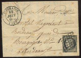 N°3 + Grille + Cachet Type 14 De Fleurance/lettre De Puysségur (gers) Pour Bordeaux - 1849-1850 Cérès