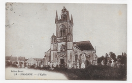 (RECTO / VERSO) SISSONNE EN 1932 - N° 53 - L' EGLISE - BEAU CACHET - CPA VOYAGEE - Sissonne