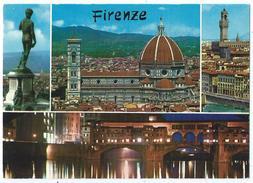 FIRENZE (FLORENCE) - Multivues (Vue Sur La Cathédrale Et Environs, Statue...) - Non écrite Dos Propre - Scan Recto-verso - Firenze