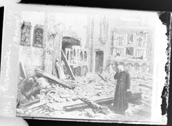 """Photographie - Plaque De Verre 9x6 - Carte Postale """"Termonde - Eglise Détruite"""" (B 513-1, Lot 8) - Diapositiva Su Vetro"""