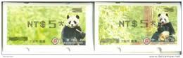 Taiwan 2010 Giant Panda Bear ATM Frama Stamps-- NT$5 Black Imprint- Bamboo Bears WWF