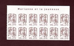 """849 - 4765  De  2013  - Neuf ** - Bloc De 12 Autoadhésif . """" MARIANNE ET LA JEUNESSE """" De Ciappa & Kawena .  0.10 . Brun - Autoadesivi"""