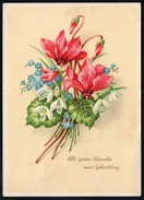8914 - Alte Glückwunschkarte - Geburtstag - Blumen - Schulz Erben - Landpost Landpoststempel Pölzig über Gera 1957 - Geburtstag