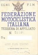 TESSERA - FEDERAZIONE MOTOCICLISTICA ITALIANA - 1953 - Moto