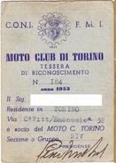 TESSERA - MOTOCLUB DI TORINO - 1953 - Moto