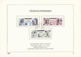 Czechoslovakia / First Day Sheet (1988/03) Praha: Ski Jumping; Hockey; Basketball; Football; Discus Throw; Weightlifting