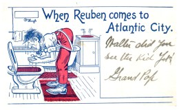 New Jersey   Wildwood,  Aerial  View Of BeachWhen Reuben Comes To Atlantic City, Washing Face In Toilet - Humour