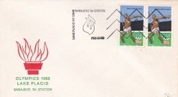 USA Cover Lake Placid Winter Olympics 1980 Olympic Sarajevo 84 Station (T5-18)