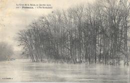 La Crue De La Seine, 30 Janvier 1910 - Puteaux, L'Ile Rotschild - Carte L'Abeille N° 120 Non Circulée - Inondations