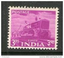India 1955 2nd Definitive Series Five Year Plan - 3p Tractor Sc 254 MNH Inde Indien - Umweltschutz Und Klima