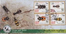 NEPAL BEETLE SERIES 4-STAMP FDC NEPAL 2016 MINT - Sonstige