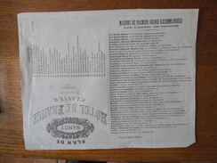 PLAN DE NANCY 1833-34 HÔTEL DE FRANCE CLAVIER PROPRIETAIRE MAISONS DE PREMIER ORDRE RECOMMANDEES PAR L'HÔTEL DE FRANCE - Lorraine - Vosges