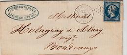 22 JUIN 1866  N°22 CHARENTE INFERIEURE GEMOZAC GC 1633 POUR BORDEAUX - Poststempel (Briefe)