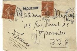 1931- Petite Enveloppe Des M M  Affr. 50 C Semeuse Oblit. D'Alexandrie  + PAQUEBOT  24 Mm - Correo Marítimo