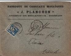 LETTRE SAGE FABRIQUE DE CARREAUX MOSAÏQUES J.BLACHON AV BEDARIEUX BEZIERS POUR VIVIERS ARDECHE - Postmark Collection (Covers)