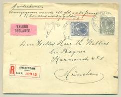 Nederland - 1930 - 27,5 Cent + 10 Cent Veth Op R-Waardebrief Valeur Déclarée Van Amsterdam/Amstel Naar München / Dld - Periode 1891-1948 (Wilhelmina)