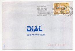 MONACO-1989--tp  Gravures Rupestres Seul Sur Lettre--flamme Récital Salla Garnier-Ordre De Malte - Brieven En Documenten