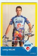 Ludwig WILLEMS , Autographe Manuscrit, Dédicace.  2 Scans. Cyclisme.  Mapei 1995 - Cyclisme