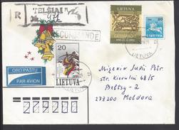 LITUANIE - Enveloppe Entier Postal Recommandé 20 + Compl. D'Affranchissement De Telsiai Vers Beltsy (Moldavie) 2 Scans. - Lithuania