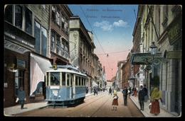 [018] Krakau - Krakow, Slakauer Gasse, 1914, Verlag Sztuka, Straßenbahn - Polonia