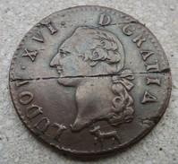 249 - SOL A L ECU 1784 R - MONNAIE FAUTEE - FLAN FENDU ET PAILLE - DIAMETRE 31 Mm - 1774-1791 Louis XVI