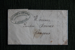 Lettre Au Porteur De BEDARIEUX à FAUGERES, Datée Du 29 Octobre 1860. - Manuscritos