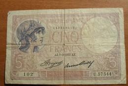 1933 -  France - CINQ FRANCS, Violet - AZ.7 - 9 - 1933. AZ.- 102 - U.57544 - 1871-1952 Circulated During XXth