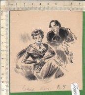 PO6498D# DISEGNO A CHINA ACQUERELLO Anni '40 (ALBERT GENTA) - DONNA CANTANTE - Disegni