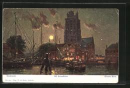 Künstler-AK Dordrecht, Groote Kerk Bij Avondlicht - Dordrecht