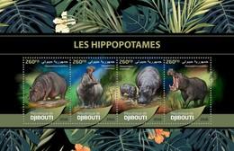 Djibouti - Postfris/MNH - Sheet Nijlpaarden 2016 - Djibouti (1977-...)