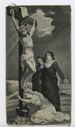 """TRES BEAU TISSAGE SUR SOIE (?) DE 7 X 13 CM  DU """"CHRIST SUR LA CROIX"""" - Religion & Esotericism"""