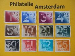 Great Britain 1982, POSTAGE DUE / PORTO: Mi 89-100, ** - Strafportzegels