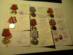 USSR RUSSIA SET OF 9  MEDALS TO WOMAN WWII VETERAN .0 - Russia