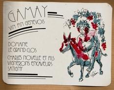 Etiquette De Vin Fin Gamay Genevois Suisse Le Grand Clos Novelle Satigny - Illustrateur âne Alcool Vignoble Cru ... - Donkeys