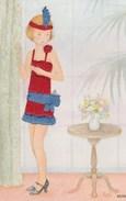 Jeune Fille,robe Brodée Prête Pour Aller Danser Le Charleston(carte Moderne) - Auguri - Feste