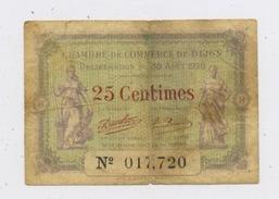 FRANCE - BILLET DE 25 Cts DE LA CHAMBRE DE COMMERCE DE DIJON - Chambre De Commerce