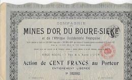 Action Mines D'or Du Bouré Siéké Numéro 01984 Année 1907 - Actions & Titres