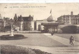 149. DIEPPE . LES JARDINS DU CASINO ET LES TOURELLES + PERS . AFFR AU VERSO LE 1-8-1924 . 2 SCANES - Dieppe