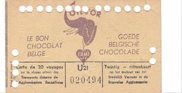 25956 - BELGIQUE Bruxelles Titre 20 Voyages Transports Urbains -publicité Chocolat Belge Cote D'Or - 1954 - Rittenkaart - Tramways