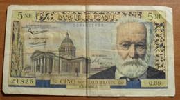 1960 - France - CINQ NOUVEAUX FRANCS, Victor Hugo - H.4-2-1960.H. Q.38  21825 - 5 NF 1959-1965 ''Victor Hugo''